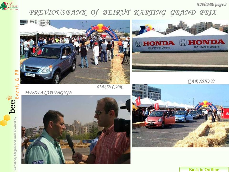 CAR SHOW PACE CAR MEDIA COVERAGE Back to Outline PREVIOUS BANK Of BEIRUT KARTING GRAND PRIX THÈME page 3