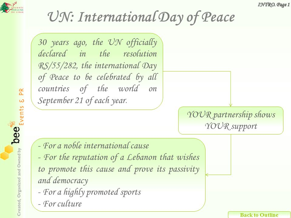Back to Outline 30 years ago, the UN officially declared in the resolution RS/55/282, the international Day of Peace to be celebrated by all countries of the world on September 21 of each year.