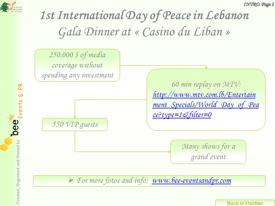 250.000 $ of media coverage without spending any investment 1st International Day of Peace in Lebanon Gala Dinner at « Casino du Liban » 60 min replay on MTV: http://www.mtv.com.lb/Entertain ment_Specials/World_Day_of_Pea ce type=1&filter=0 550 VIP guests Many shows for a grand event For more fotos and info: www.bee-eventsandpr.comwww.bee-eventsandpr.com Back to Outline INTRO.