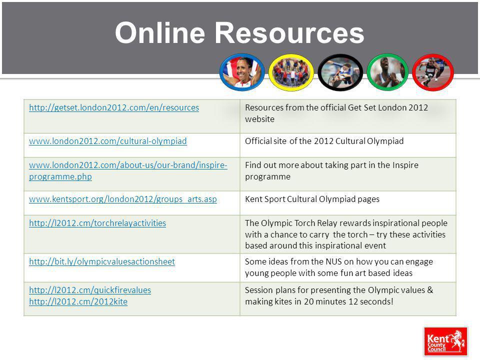 Online Resources http://getset.london2012.com/en/resourcesResources from the official Get Set London 2012 website www.london2012.com/cultural-olympiad