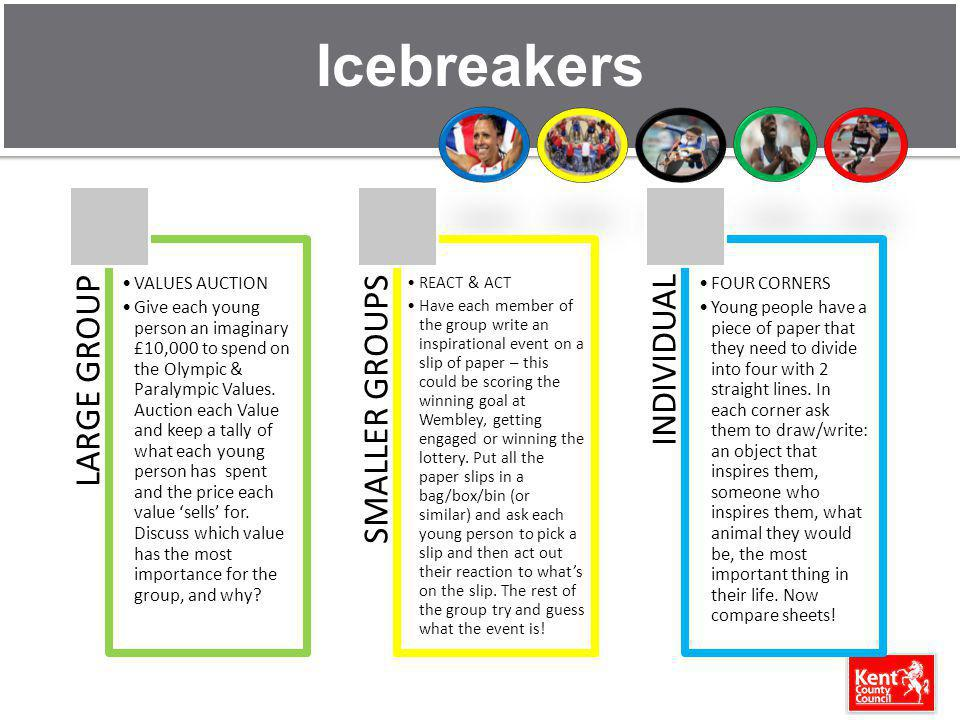 Icebreakers LARGE GROUP VALUES AUCTION Give each young person an imaginary £10,000 to spend on the Olympic & Paralympic Values.