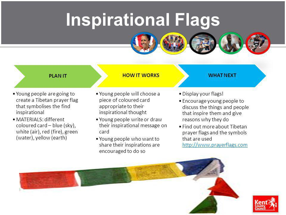 Inspirational Flags PLAN IT Young people are going to create a Tibetan prayer flag that symbolises the find inspirational MATERIALS: different coloured card – blue (sky), white (air), red (fire), green (water), yellow (earth) HOW IT WORKS Young people will choose a piece of coloured card appropriate to their inspirational thought Young people write or draw their inspirational message on card Young people who want to share their inspirations are encouraged to do so WHAT NEXT Display your flags.