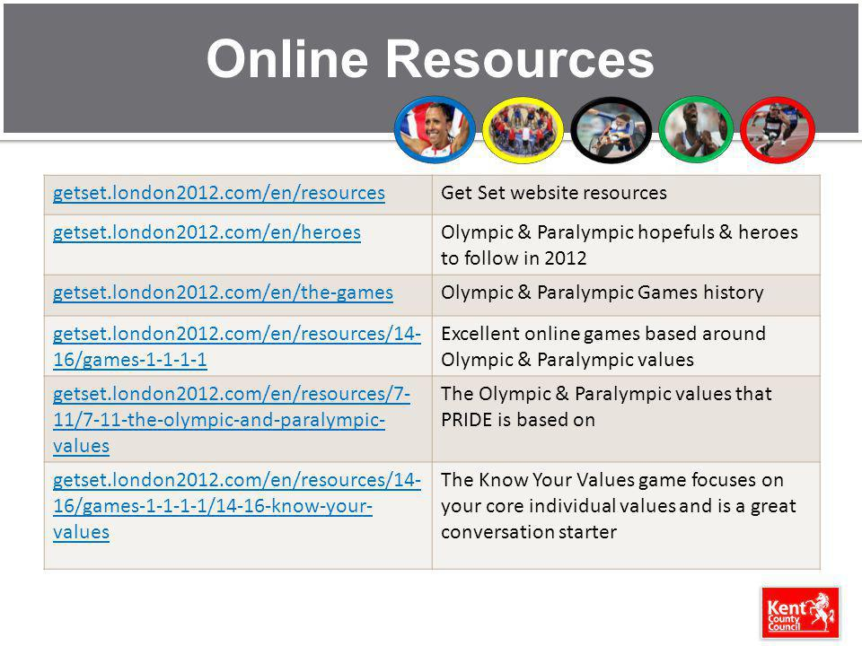 Online Resources getset.london2012.com/en/resourcesGet Set website resources getset.london2012.com/en/heroesOlympic & Paralympic hopefuls & heroes to follow in 2012 getset.london2012.com/en/the-gamesOlympic & Paralympic Games history getset.london2012.com/en/resources/14- 16/games-1-1-1-1 Excellent online games based around Olympic & Paralympic values getset.london2012.com/en/resources/7- 11/7-11-the-olympic-and-paralympic- values The Olympic & Paralympic values that PRIDE is based on getset.london2012.com/en/resources/14- 16/games-1-1-1-1/14-16-know-your- values The Know Your Values game focuses on your core individual values and is a great conversation starter