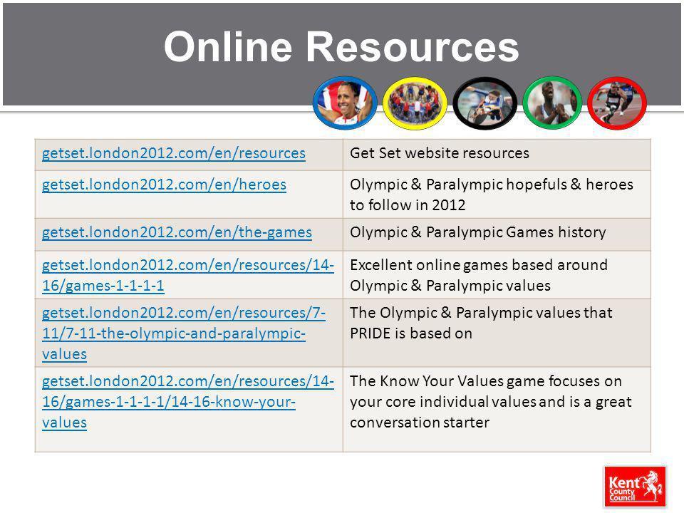Online Resources getset.london2012.com/en/resourcesGet Set website resources getset.london2012.com/en/heroesOlympic & Paralympic hopefuls & heroes to