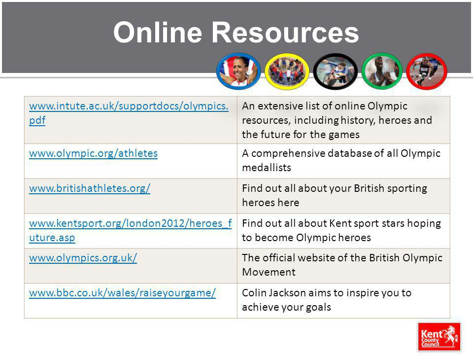 Online Resources www.intute.ac.uk/supportdocs/olympics. pdf An extensive list of online Olympic resources, including history, heroes and the future fo