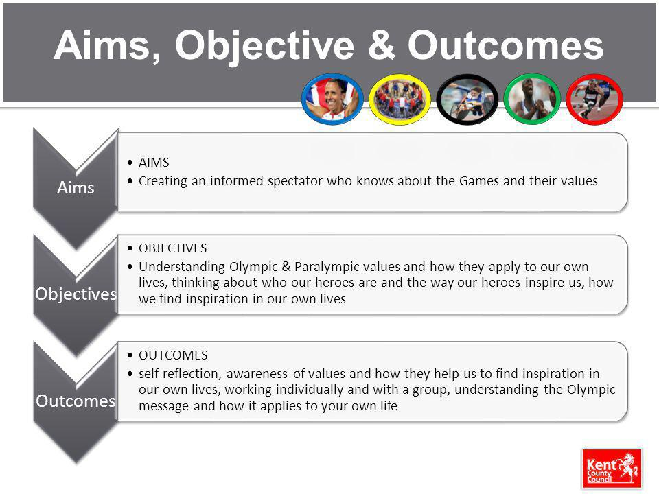 Aims, Objective & Outcomes Aims AIMS Creating an informed spectator who knows about the Games and their values Objectives OBJECTIVES Understanding Olympic & Paralympic values and how they apply to our own lives, thinking about who our heroes are and the way our heroes inspire us, how we find inspiration in our own lives Outcomes OUTCOMES self reflection, awareness of values and how they help us to find inspiration in our own lives, working individually and with a group, understanding the Olympic message and how it applies to your own life