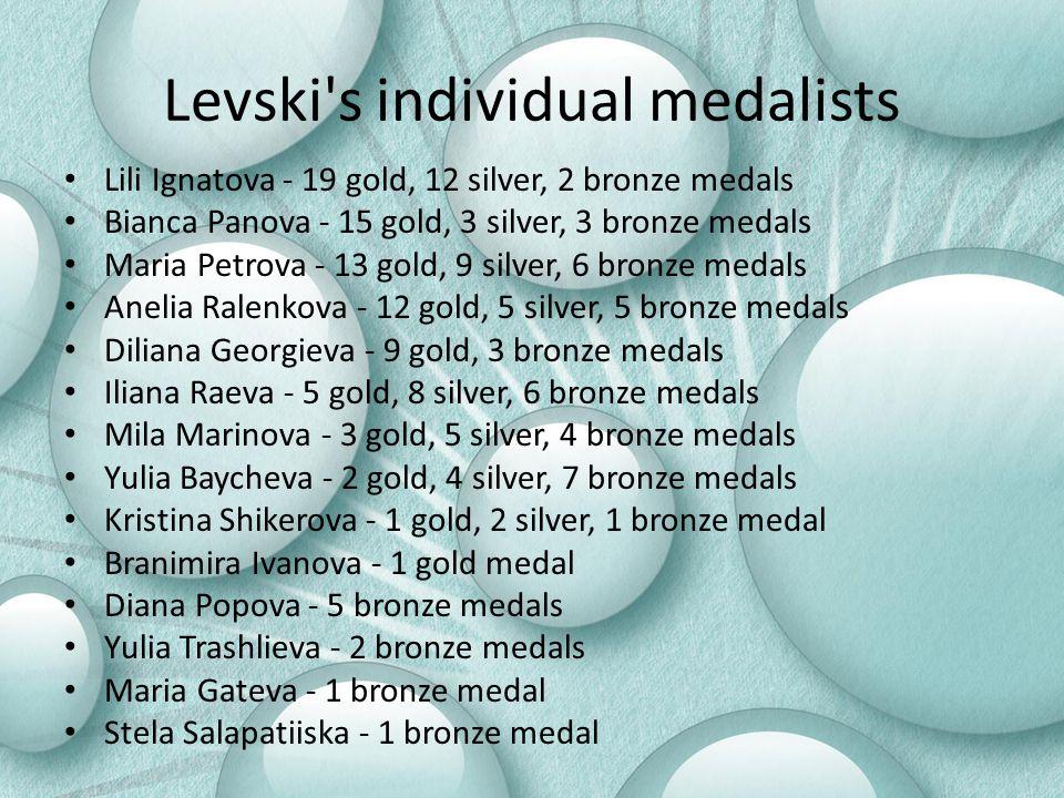 Levski's individual medalists Lili Ignatova - 19 gold, 12 silver, 2 bronze medals Bianca Panova - 15 gold, 3 silver, 3 bronze medals Maria Petrova - 1