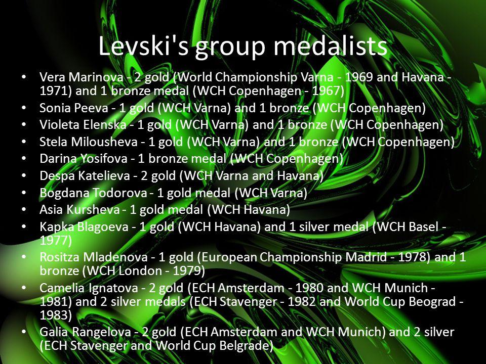 Levski's group medalists Vera Marinova - 2 gold (World Championship Varna - 1969 and Havana - 1971) and 1 bronze medal (WCH Copenhagen - 1967) Sonia P