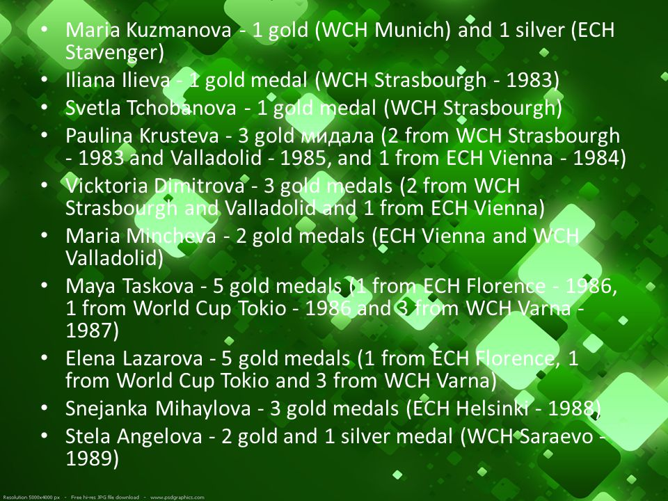 Maria Kuzmanova - 1 gold (WCH Munich) and 1 silver (ECH Stavenger) Iliana Ilieva - 1 gold medal (WCH Strasbourgh - 1983) Svetla Tchobanova - 1 gold me