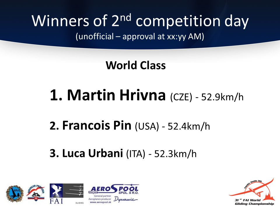 Winners of 2 nd competition day (unofficial – approval at xx:yy AM) 3.