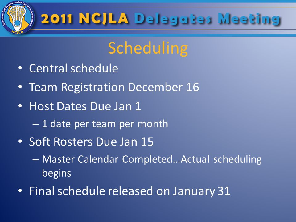 Scheduling Central schedule Team Registration December 16 Host Dates Due Jan 1 – 1 date per team per month Soft Rosters Due Jan 15 – Master Calendar Completed…Actual scheduling begins Final schedule released on January 31