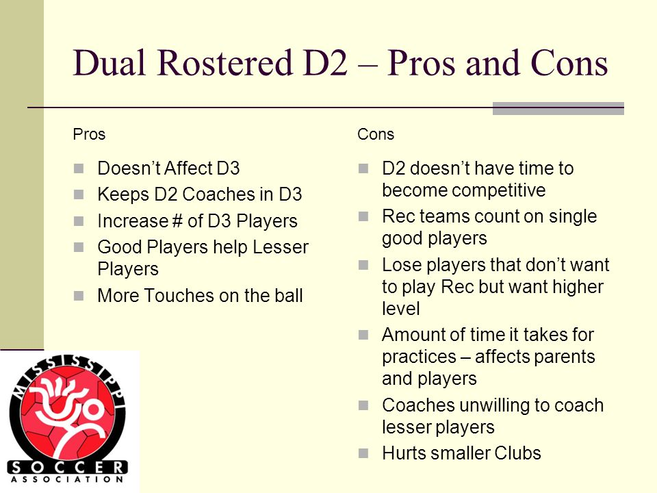 Dual Rostered D2 – Pros and Cons Doesnt Affect D3 Keeps D2 Coaches in D3 Increase # of D3 Players Good Players help Lesser Players More Touches on the ball D2 doesnt have time to become competitive Rec teams count on single good players Lose players that dont want to play Rec but want higher level Amount of time it takes for practices – affects parents and players Coaches unwilling to coach lesser players Hurts smaller Clubs ConsPros