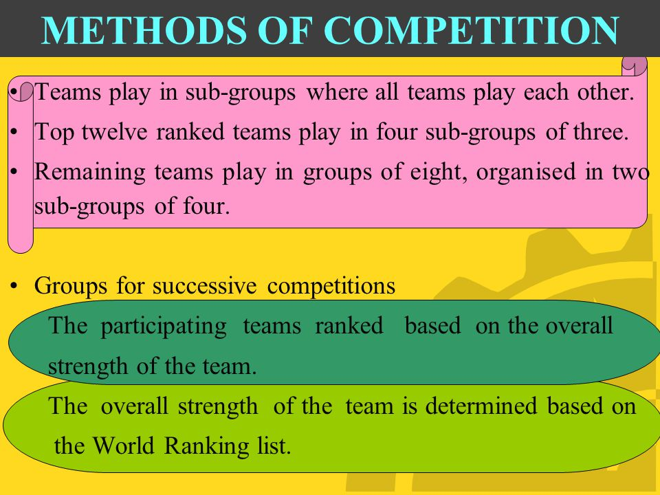 METHODS OF COMPETITION Teams play in sub-groups where all teams play each other.
