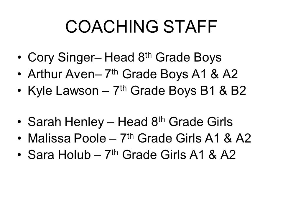 COACHING STAFF Cory Singer– Head 8 th Grade Boys Arthur Aven– 7 th Grade Boys A1 & A2 Kyle Lawson – 7 th Grade Boys B1 & B2 Sarah Henley – Head 8 th Grade Girls Malissa Poole – 7 th Grade Girls A1 & A2 Sara Holub – 7 th Grade Girls A1 & A2