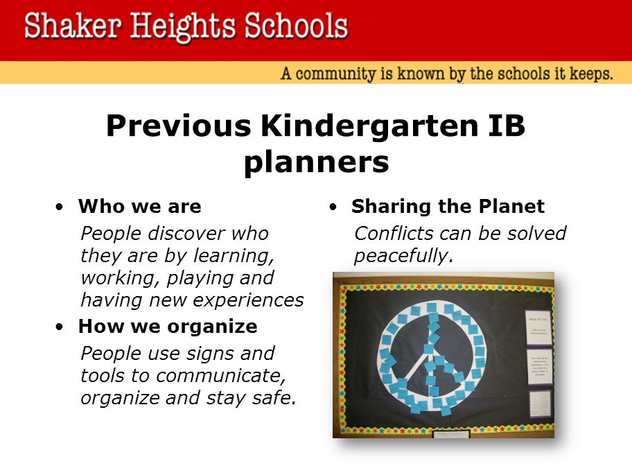 Previous Kindergarten IB planners Who we are People discover who they are by learning, working, playing and having new experiences How we organize People use signs and tools to communicate, organize and stay safe.