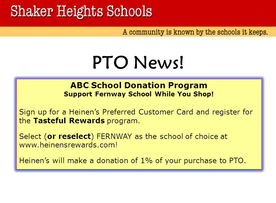 PTO News.ABC School Donation Program Support Fernway School While You Shop.