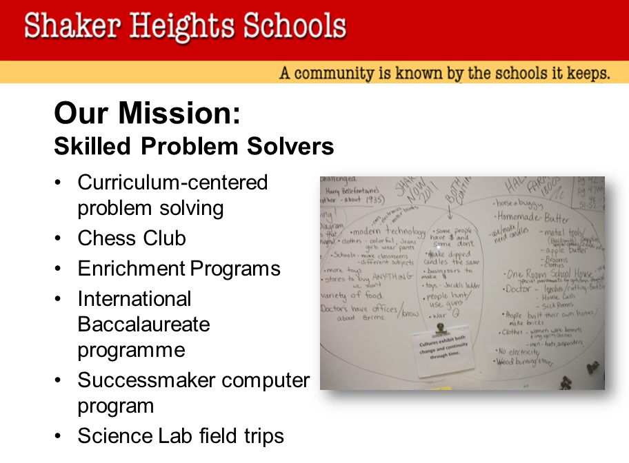 Our Mission: Skilled Problem Solvers Curriculum-centered problem solving Chess Club Enrichment Programs International Baccalaureate programme Successmaker computer program Science Lab field trips