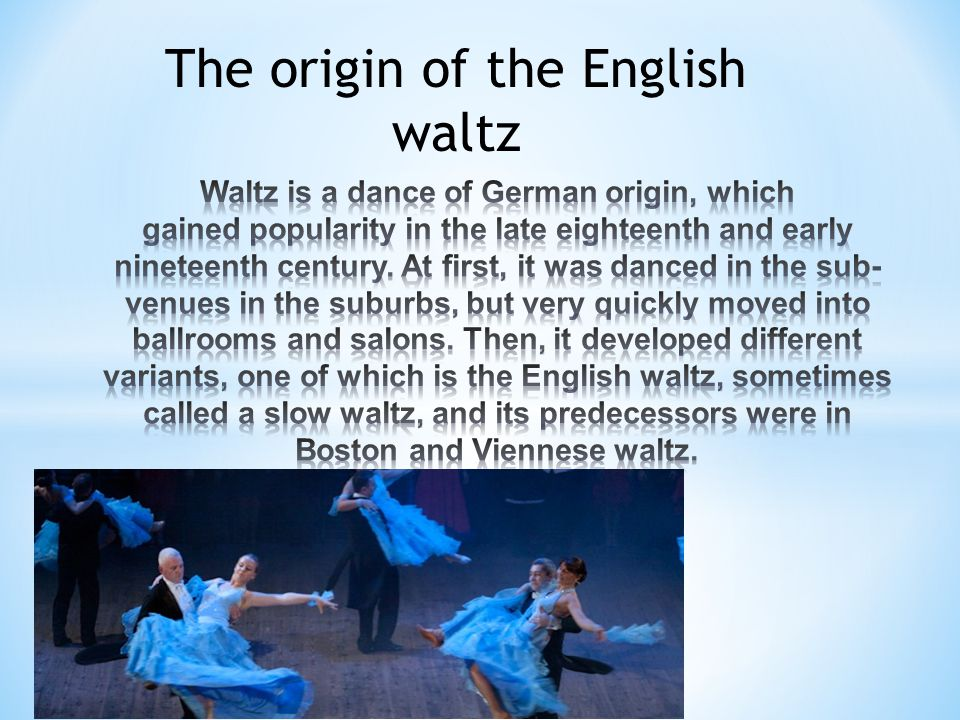 The origin of the English waltz
