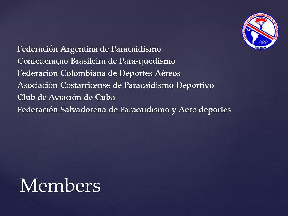 Federación Argentina de Paracaidismo Confederaçao Brasileira de Para-quedismo Federación Colombiana de Deportes Aéreos Asociación Costarricense de Paracaidismo Deportivo Club de Aviación de Cuba Federación Salvadoreña de Paracaidismo y Aero deportes Members