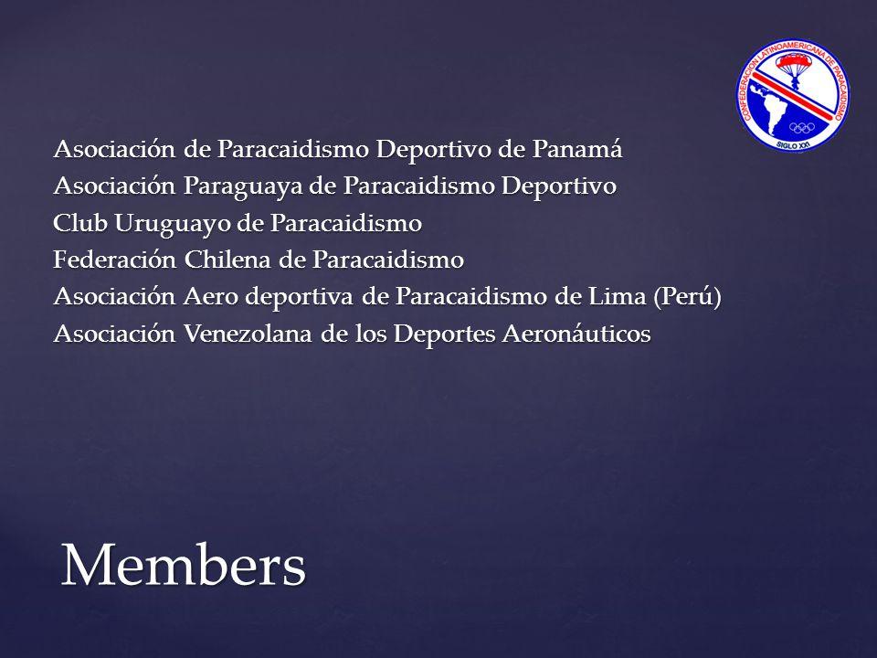 Asociación de Paracaidismo Deportivo de Panamá Asociación Paraguaya de Paracaidismo Deportivo Club Uruguayo de Paracaidismo Federación Chilena de Paracaidismo Asociación Aero deportiva de Paracaidismo de Lima (Perú) Asociación Venezolana de los Deportes Aeronáuticos Members