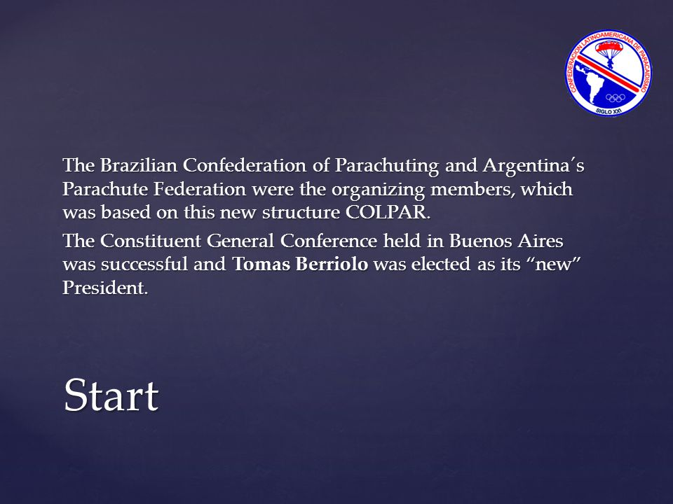 The Brazilian Confederation of Parachuting and Argentina´s Parachute Federation were the organizing members, which was based on this new structure COL