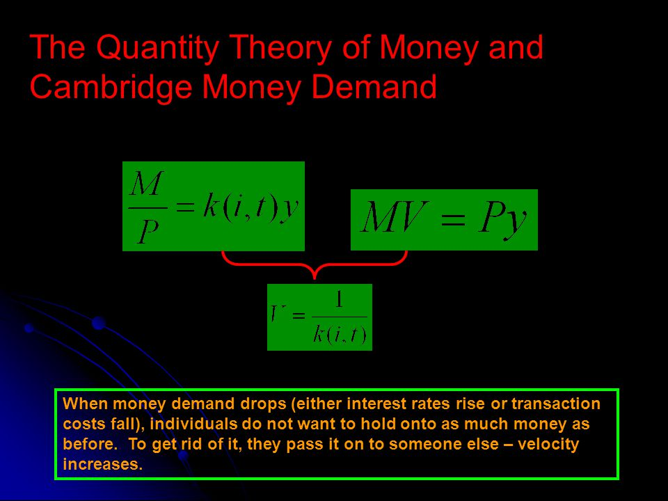 The Quantity Theory of Money and Cambridge Money Demand When money demand drops (either interest rates rise or transaction costs fall), individuals do not want to hold onto as much money as before.