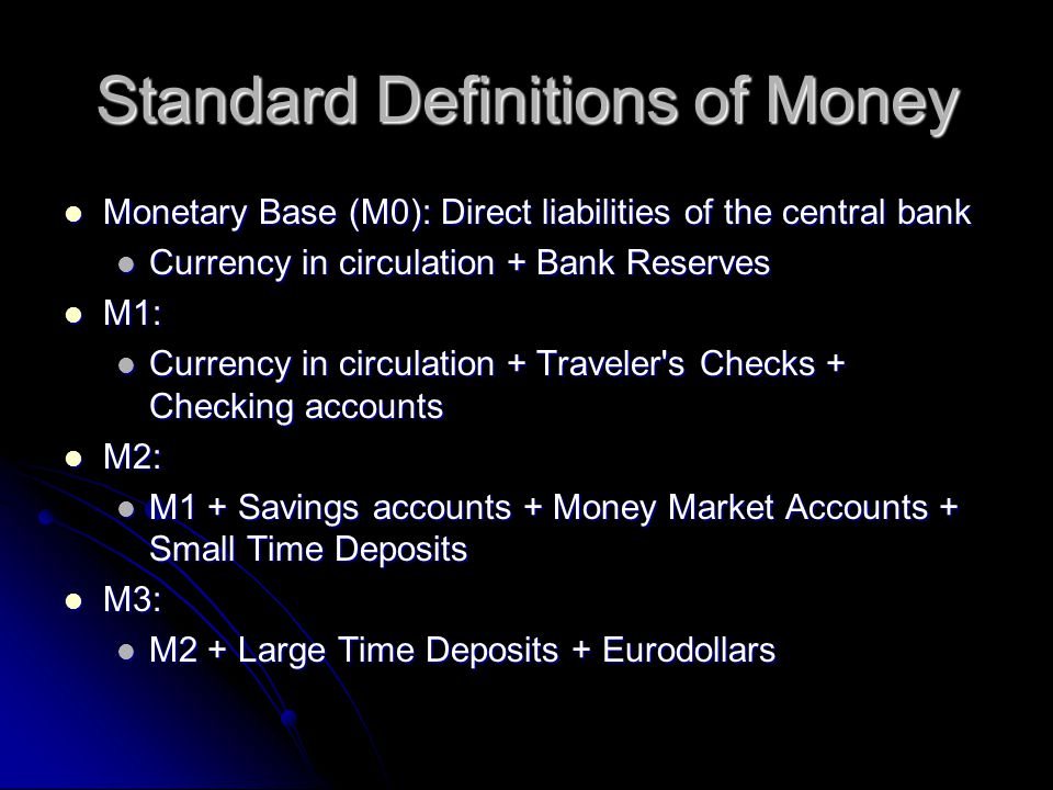 Standard Definitions of Money Monetary Base (M0): Direct liabilities of the central bank Monetary Base (M0): Direct liabilities of the central bank Currency in circulation + Bank Reserves Currency in circulation + Bank Reserves M1: M1: Currency in circulation + Traveler s Checks + Checking accounts Currency in circulation + Traveler s Checks + Checking accounts M2: M2: M1 + Savings accounts + Money Market Accounts + Small Time Deposits M1 + Savings accounts + Money Market Accounts + Small Time Deposits M3: M3: M2 + Large Time Deposits + Eurodollars M2 + Large Time Deposits + Eurodollars