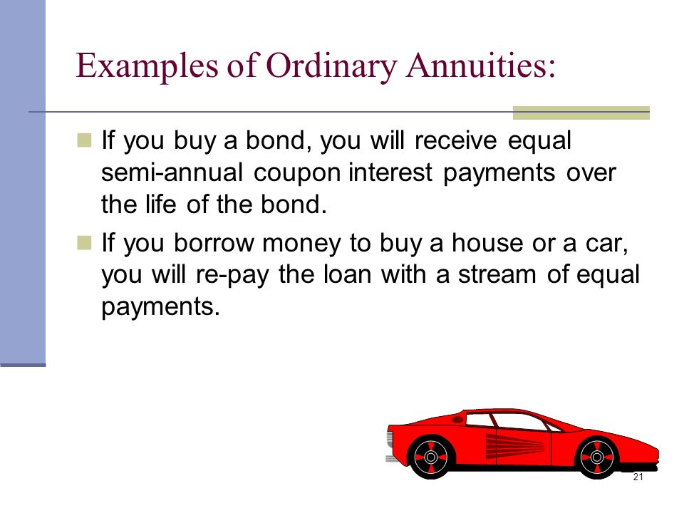 20 Annuities Annuity: a sequence of equal cash flows, occurring at the end of each period. This is known as an ordinary annuity. 01 234 PV FV