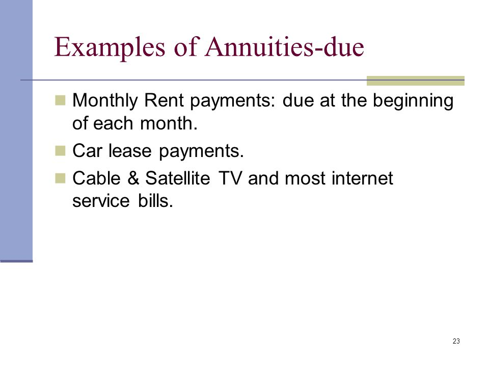 22 Annuity-due A sequence of periodic cash flows occurring at the beginning of each period. 01 234 PV FV