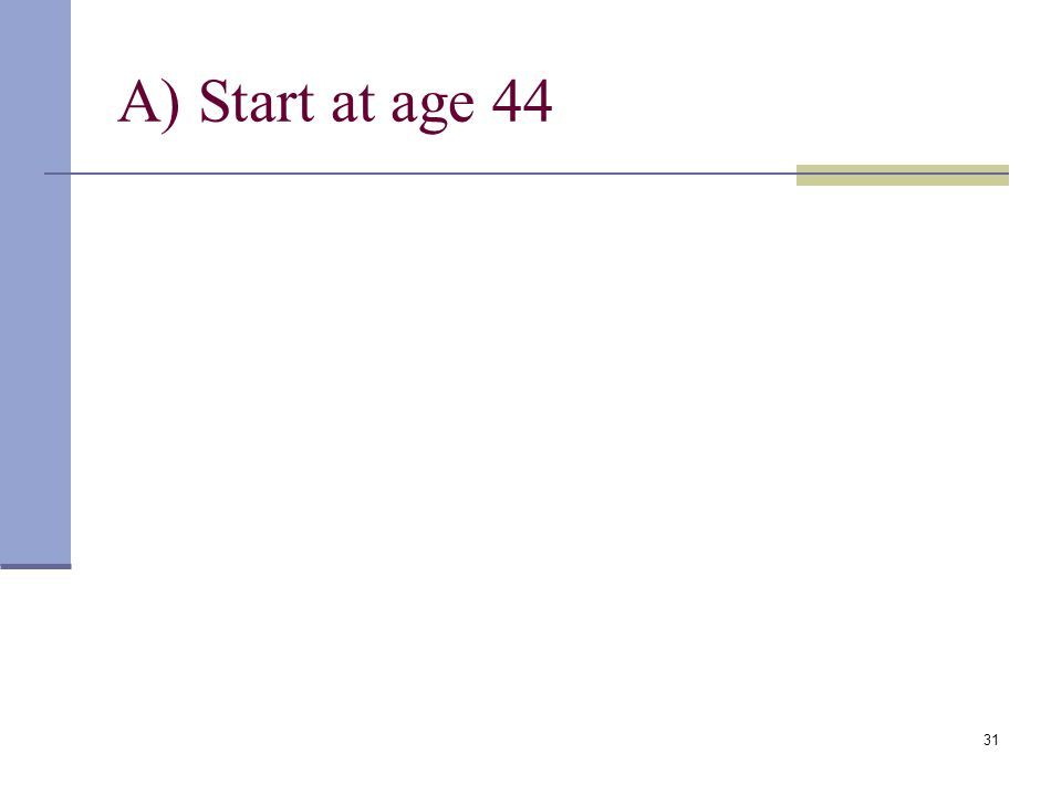 30 Example: Invest Early in an IRA How much would you have at age 65 if you deposit $2,400 at the end of each year in an investment account with a 9%