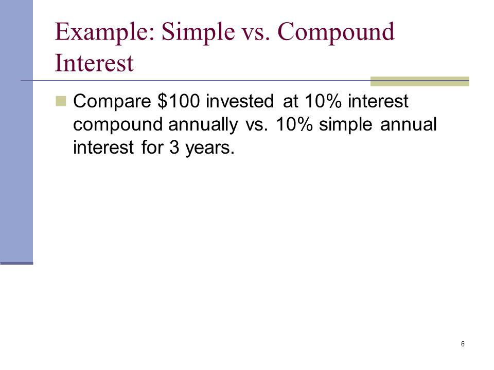 5 Future Values Future Value - Amount to which an investment will grow after earning interest. Compound Interest - Interest earned on interest. Simple
