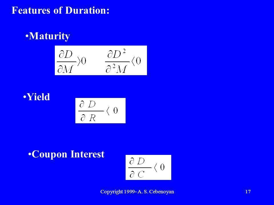 Copyright 1999- A. S. Cebenoyan17 Features of Duration: Maturity Yield Coupon Interest