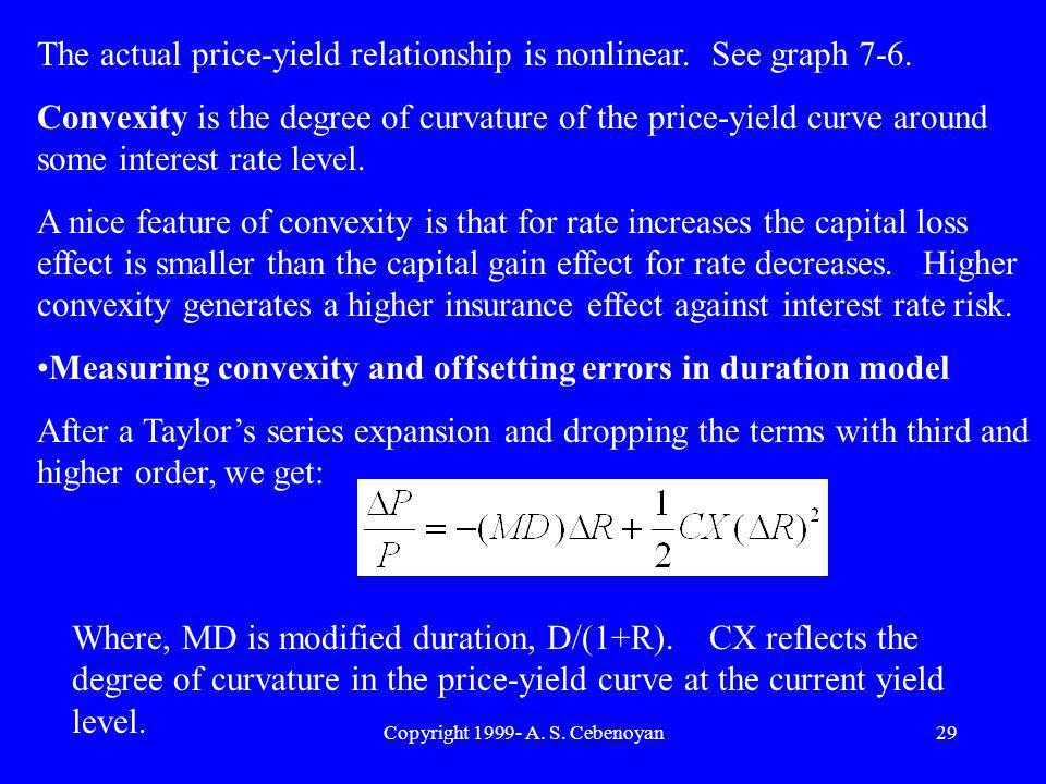 Copyright 1999- A. S. Cebenoyan29 The actual price-yield relationship is nonlinear.