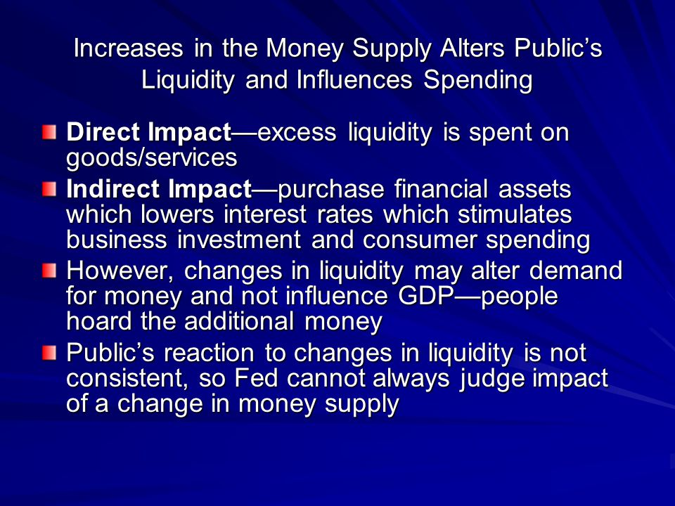 Increases in the Money Supply Alters Publics Liquidity and Influences Spending Direct Impactexcess liquidity is spent on goods/services Indirect Impac
