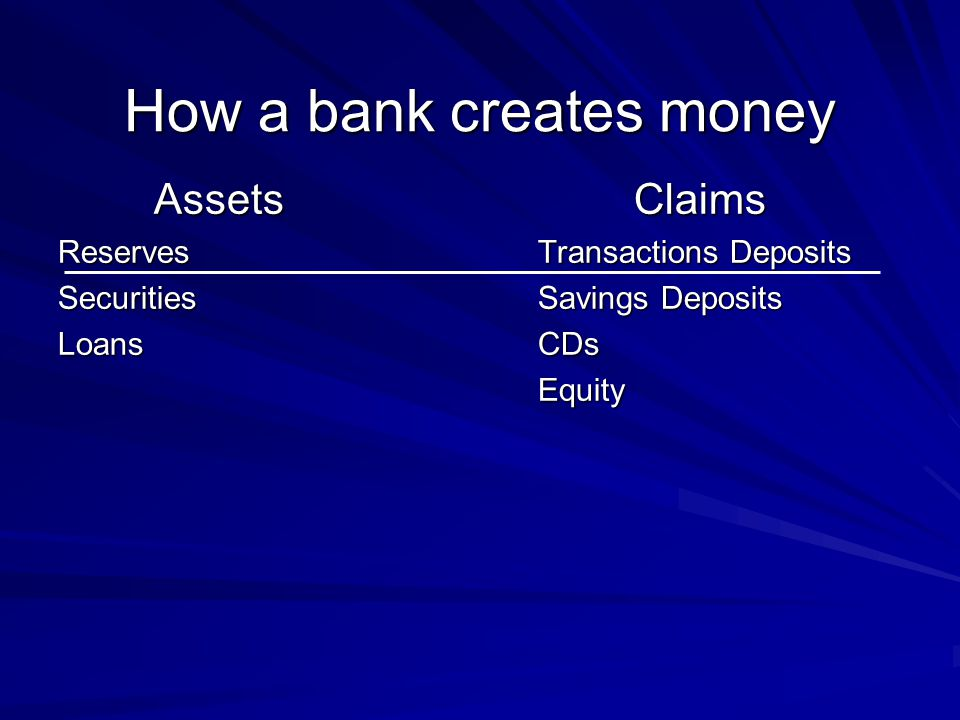How a bank creates money AssetsClaims ReservesTransactions Deposits SecuritiesSavings Deposits LoansCDs Equity