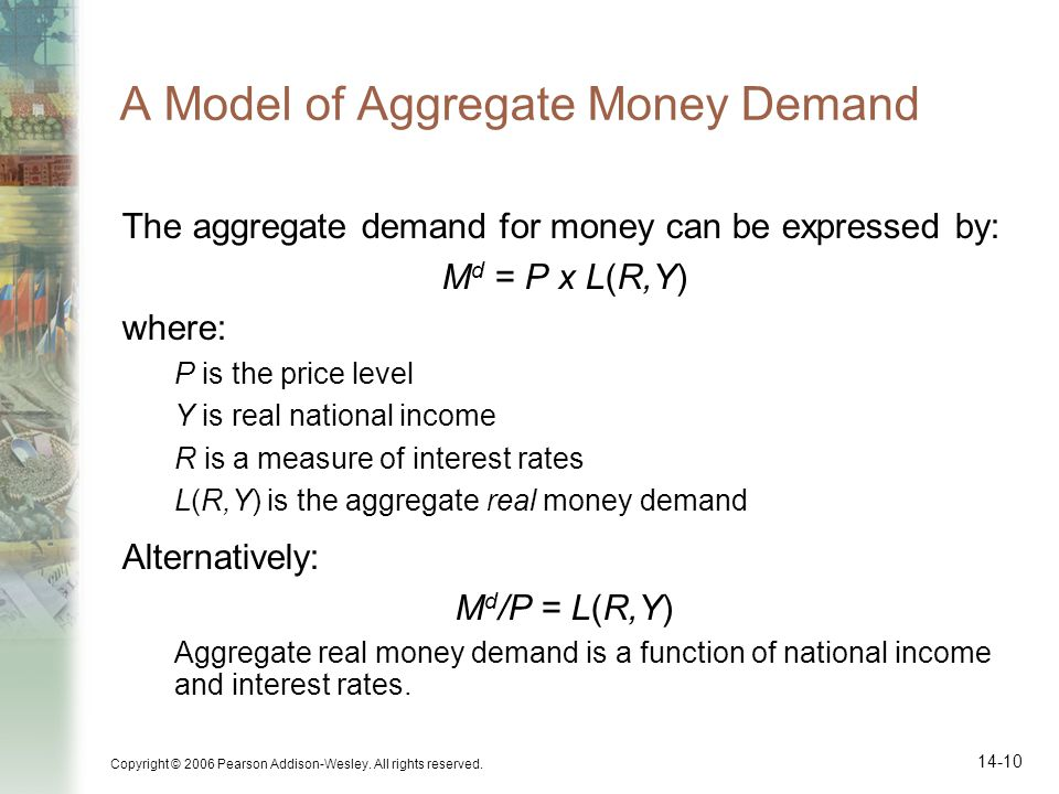 Copyright © 2006 Pearson Addison-Wesley. All rights reserved. 14-10 A Model of Aggregate Money Demand The aggregate demand for money can be expressed