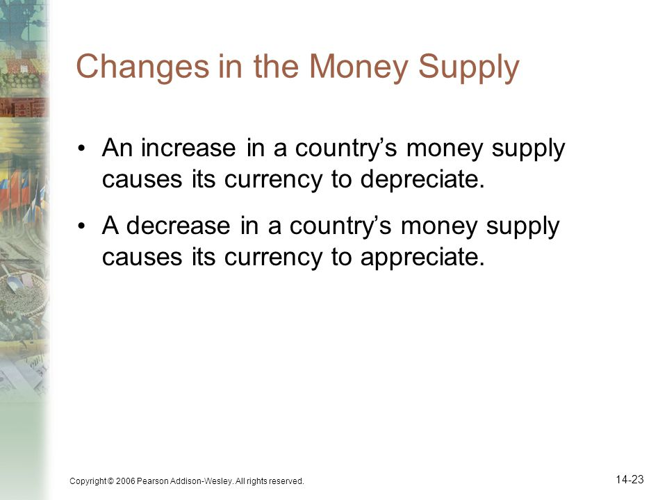 Copyright © 2006 Pearson Addison-Wesley. All rights reserved. 14-23 Changes in the Money Supply An increase in a countrys money supply causes its curr
