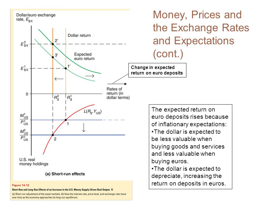 Money, Prices and the Exchange Rates and Expectations (cont.) Change in expected return on euro deposits The expected return on euro deposits rises be