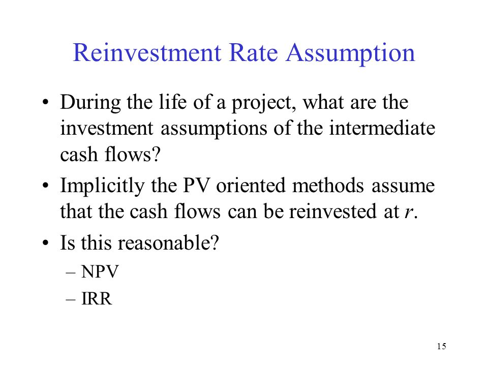 14 NPV Profiles of Mutually Exclusive Projects Crossover Rate = 11.8 IRR A =19.43 IRR B =22.17