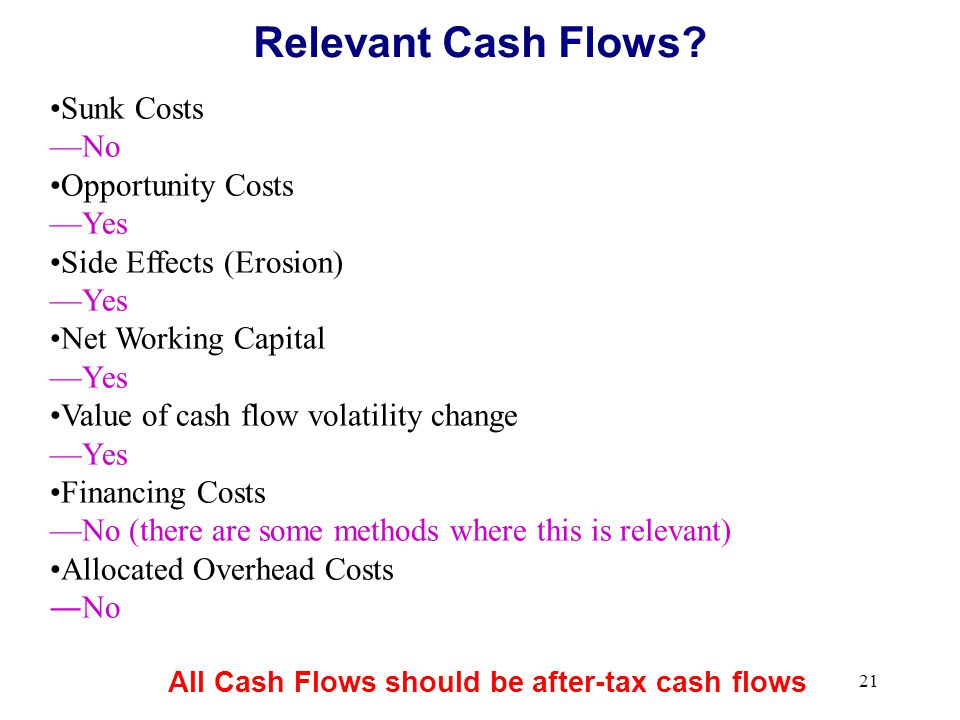 20 Incremental cash flows: Only the incremental portion of any flow is relevant Otherwise known as the Stand-Alone Principle Project =