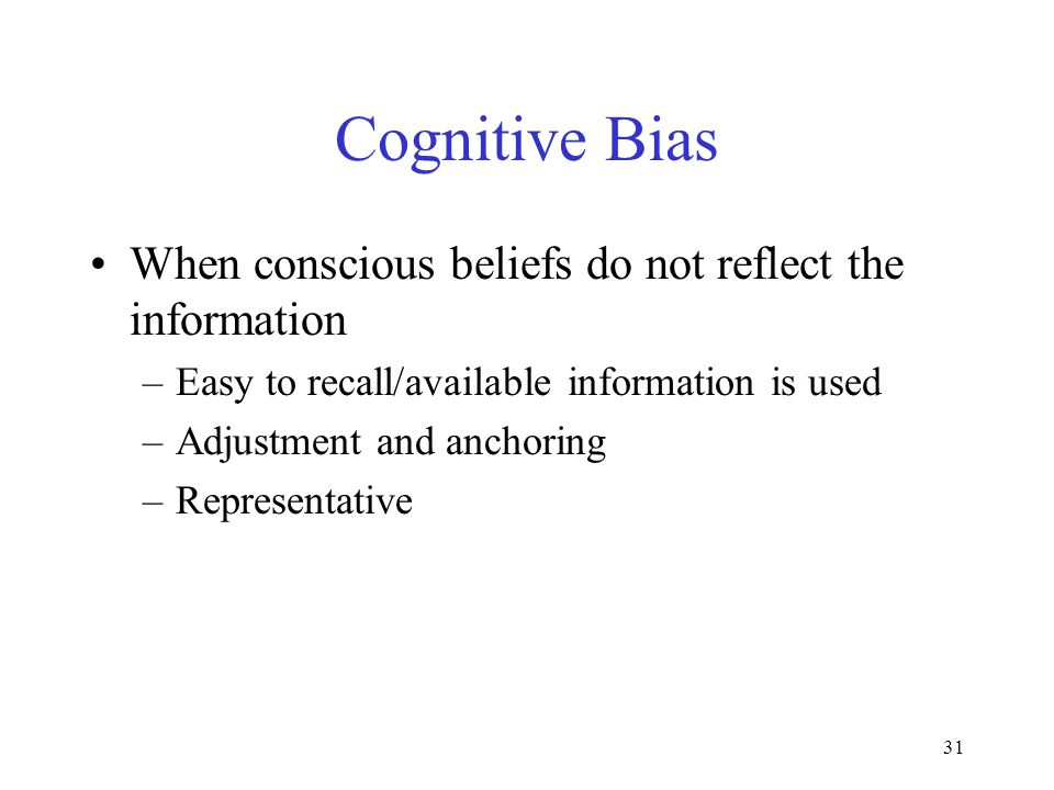 30 Biases Systematic deviation from the actual value