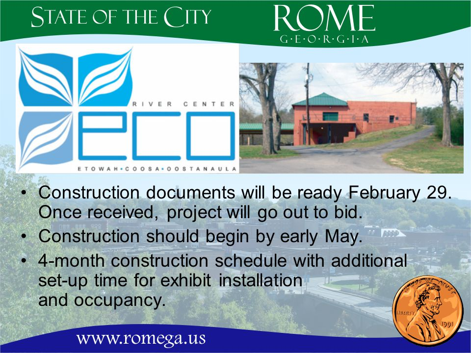 Construction documents will be ready February 29. Once received, project will go out to bid.