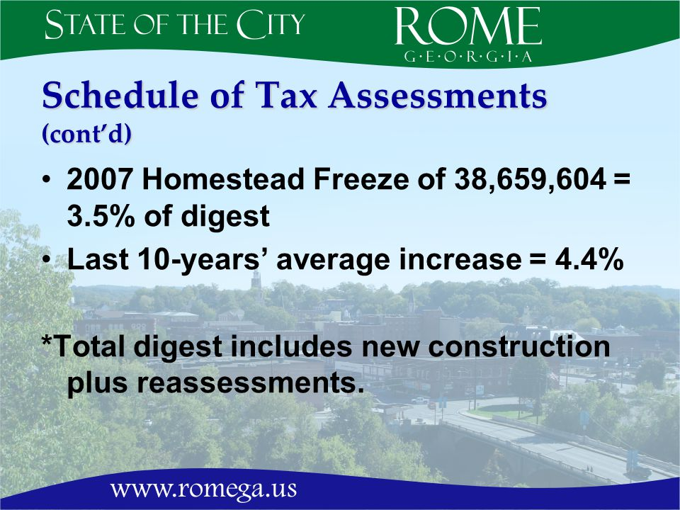 Schedule of Tax Assessments (contd) 2007 Homestead Freeze of 38,659,604 = 3.5% of digest Last 10-years average increase = 4.4% *Total digest includes new construction plus reassessments.
