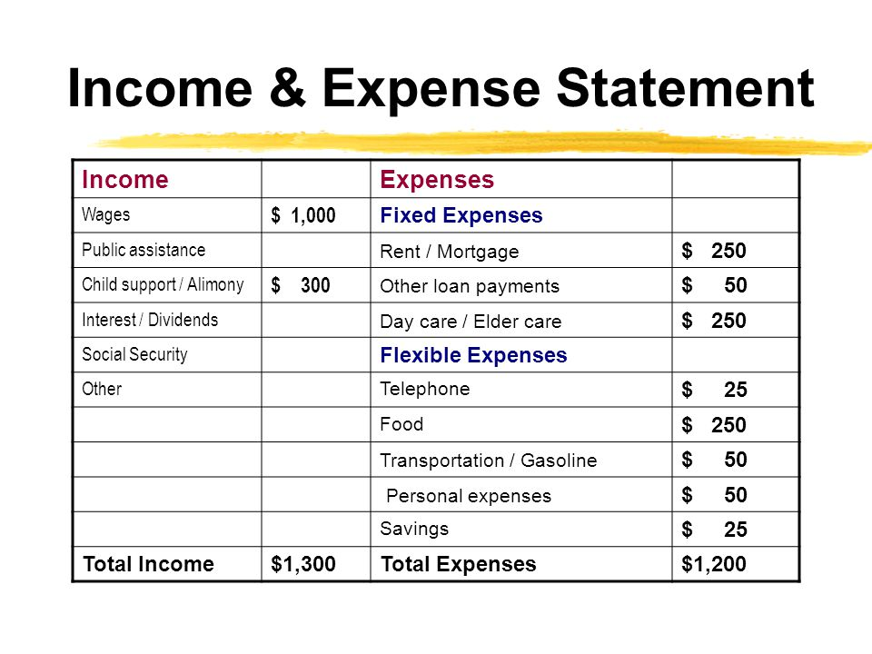 Income & Expense Statement IncomeExpenses Wages $ 1,000 Fixed Expenses Public assistance Rent / Mortgage $ 250 Child support / Alimony $ 300 Other loan payments $ 50 Interest / Dividends Day care / Elder care $ 250 Social Security Flexible Expenses Other Telephone $ 25 Food $ 250 Transportation / Gasoline $ 50 Personal expenses $ 50 Savings $ 25 Total Income$1,300Total Expenses$1,200