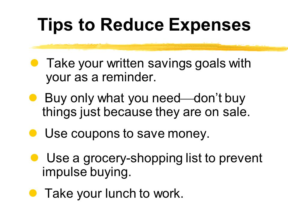 Take your written savings goals with your as a reminder. Buy only what you need dont buy things just because they are on sale. Use coupons to save mon