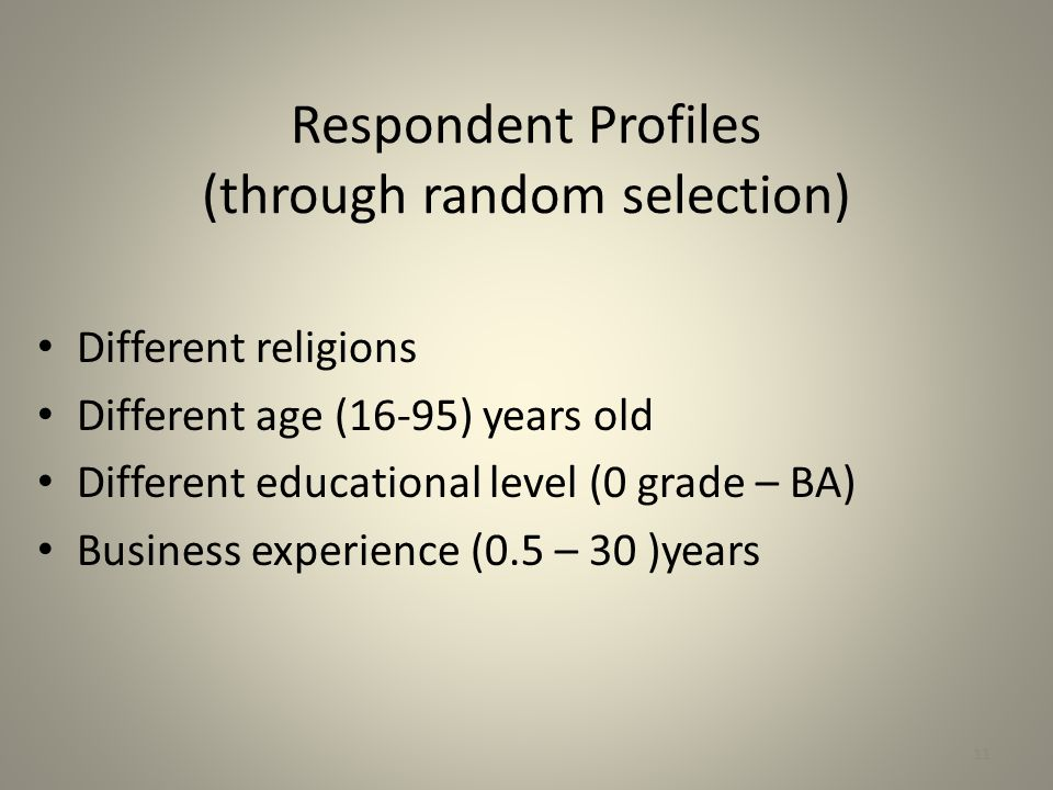 Respondent Profiles (through random selection) Different religions Different age (16-95) years old Different educational level (0 grade – BA) Business