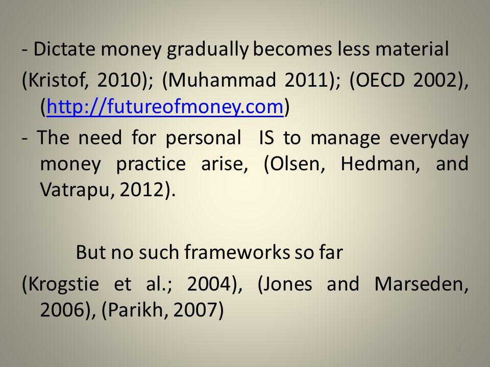 - Dictate money gradually becomes less material (Kristof, 2010); (Muhammad 2011); (OECD 2002), (http://futureofmoney.com)http://futureofmoney.com - Th