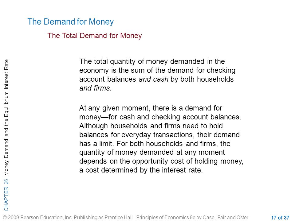 CHAPTER 26 Money Demand and the Equilibrium Interest Rate © 2009 Pearson Education, Inc.