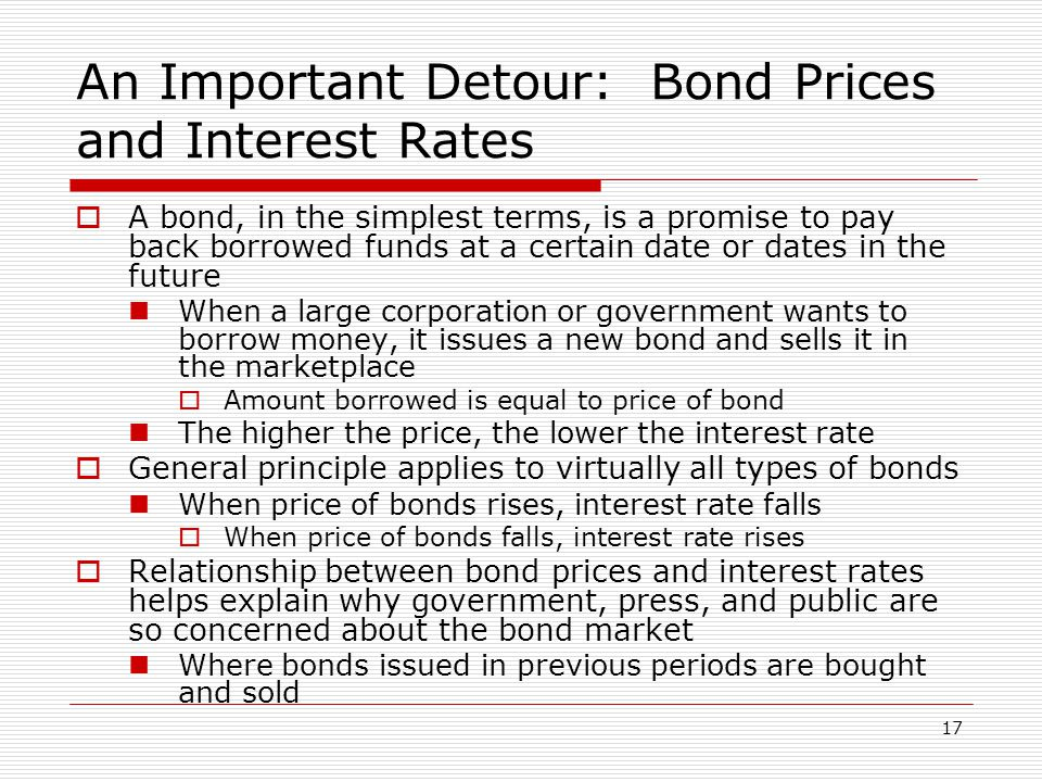 17 An Important Detour: Bond Prices and Interest Rates A bond, in the simplest terms, is a promise to pay back borrowed funds at a certain date or dat