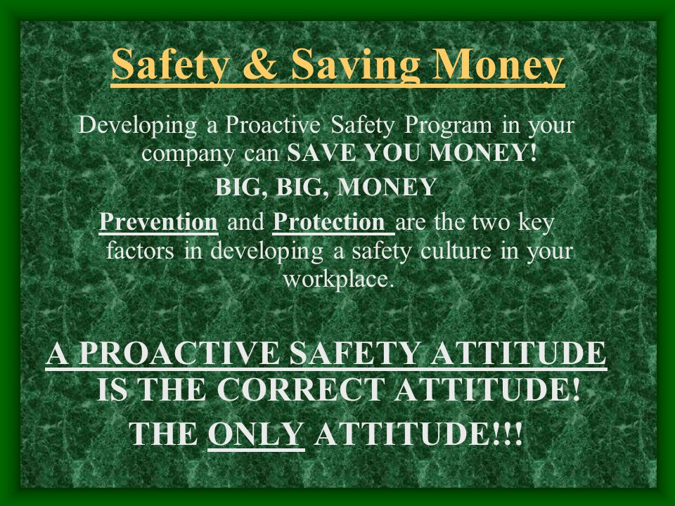 Safety & Saving Money Developing a Proactive Safety Program in your company can SAVE YOU MONEY.